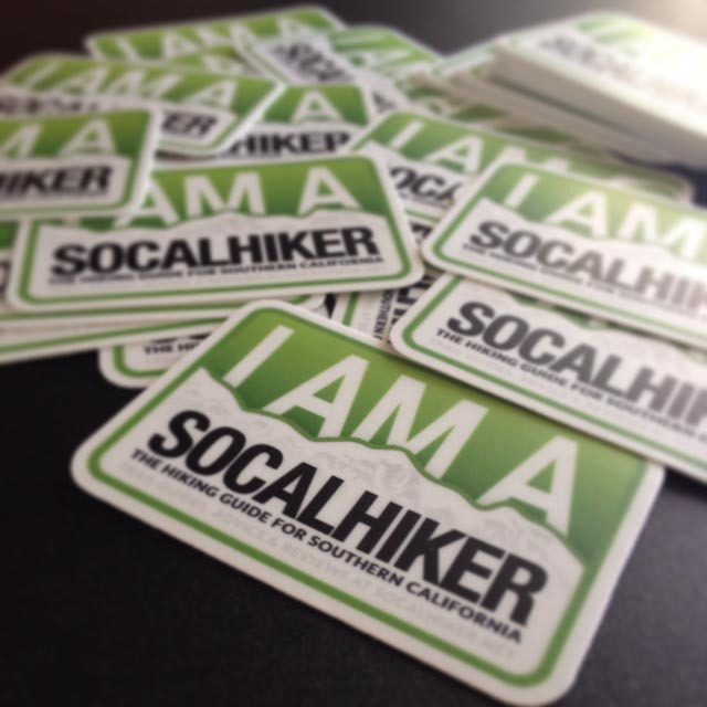 Quality, weather resistant and dishwasher safe SoCalHiker stickers.