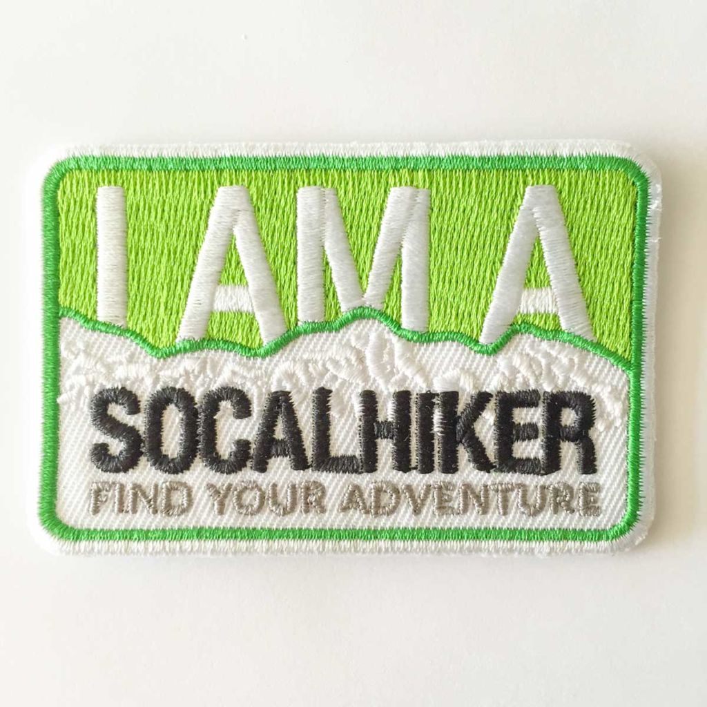 The SoCalHiker patch can be sewn or ironed-on.
